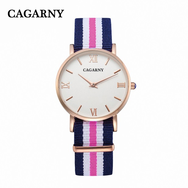 Cagarny Watches Women Fashion Quartz Watch Clock Woman Rose Gold Ultra-Thin Case Nylon Watchband Casual Ladies Quartz-Watch Gift cagarny fashion watch women rose gold men s quartz watches men casual wristwatches for lovers unisex nylon strap reloje mujer