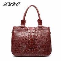 LUYO Crocodile Grain Genuine Leather Women Shoulder Bags Alligator Ladies Luxury Handbags Designer Inspired Tote Bag