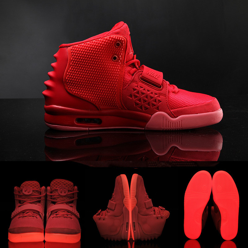 Free shipping 2015 men Air yeezy 2 red october high top sport shoes kanye  west luminous basketball shoes 6b470e424