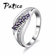 PATICO exuberante estilo Bohemia diseño atractivo joyería púrpura cristal AAA anillo de Plata de Ley 925 al por mayor envío gratis
