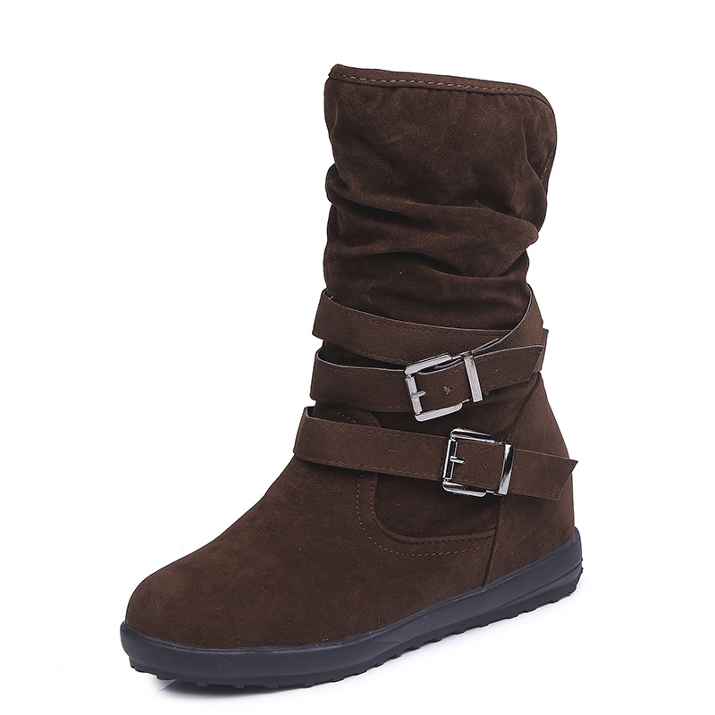 2018 New Woman Riding Equestrian Snow Boots Ankle Flock Women Flats Short Plush Keep Warm Fashion Shoes Europe Brand Design