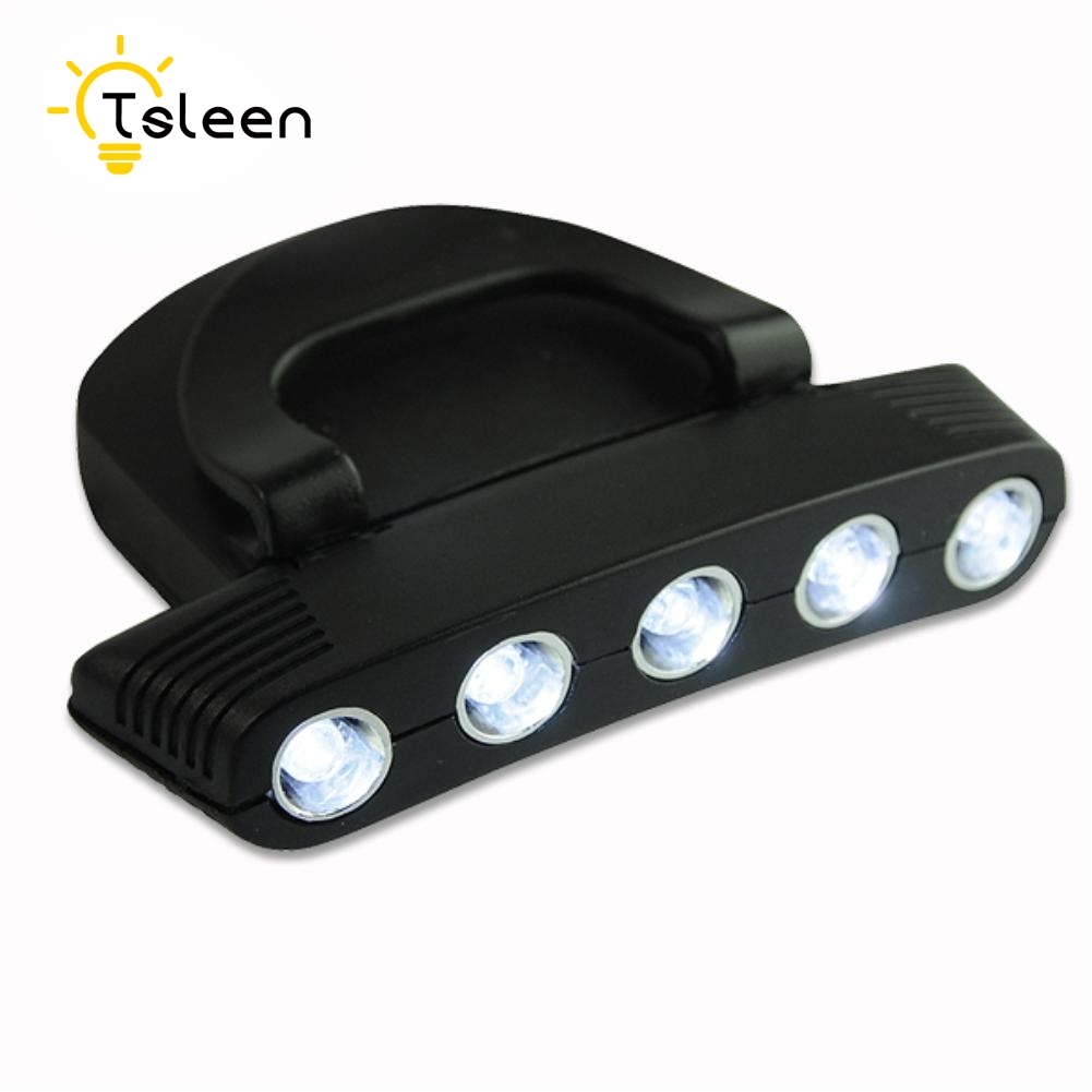TSLEEN Clip-On 5 LED Headlamp Clip Lights Hands-free Cap Hat Headlight Flash / Steady ON Adjustable Angle Cap Clip