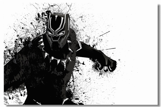 Custom canvas paintings black panther poster black panther wallpaper marvel superhero wall sticker mural kids room