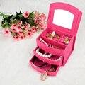 БЕСПЛАТНЫЙ Продвижение Прекрасный 4 цвета коробка ювелирных изделий/Косметическая коробка организатор/шкатулка/фиолетовый, розово-красный, розовый, красный опционально/женщин Подарки