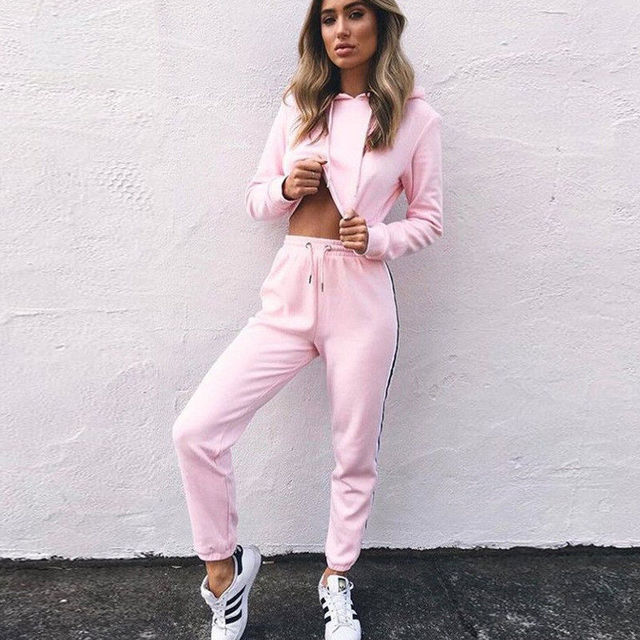 Women Ladies Tracksuit Crop Hoodies Sweatshirt Pants Sets Leisure Wear Casual Suit