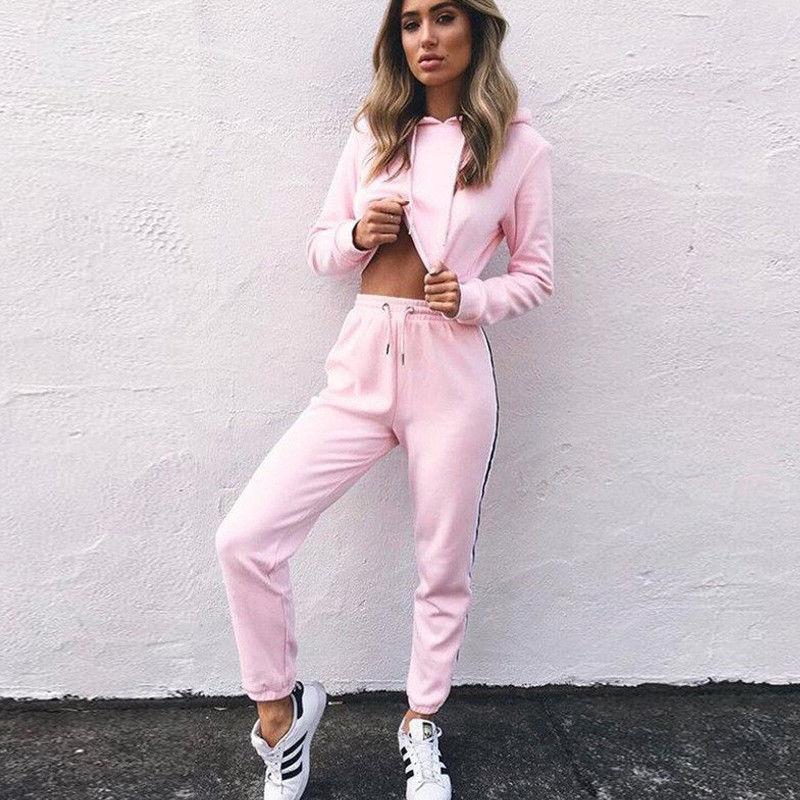 Novo 2 pçs feminino senhoras agasalho colheita hoodies moletom calças define lazer wear casual terno