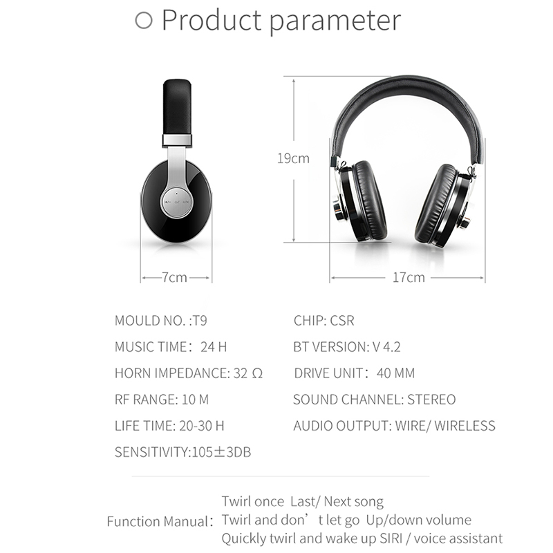 T9 casque Bluetooth réduction de bruit Active casque sans fil Portable et musique avec commande vocale - 5