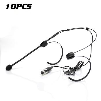 10Pcs Mini XLR 3 Pin TA3F Double Earhook Headset Microphone System For SAMSON PXD2 UT1 T32M Wireless Mic Bodypack Transmitter