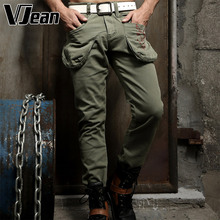 V JEAN Men's Stylish Cotton Pants with Cargo Pockets #2C352
