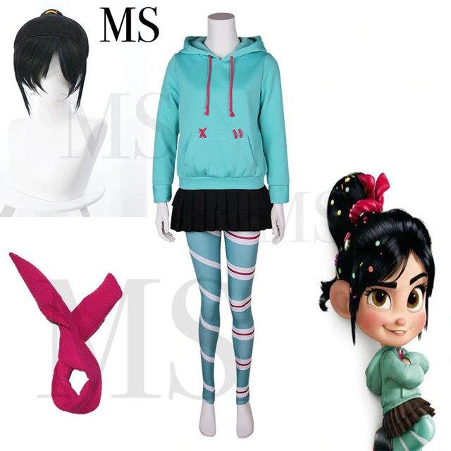 Wreck it ralph cosplay traje vanellope von schweetz jogo anime hoodies peruca saia meia calça hairband para crianças menina feminino