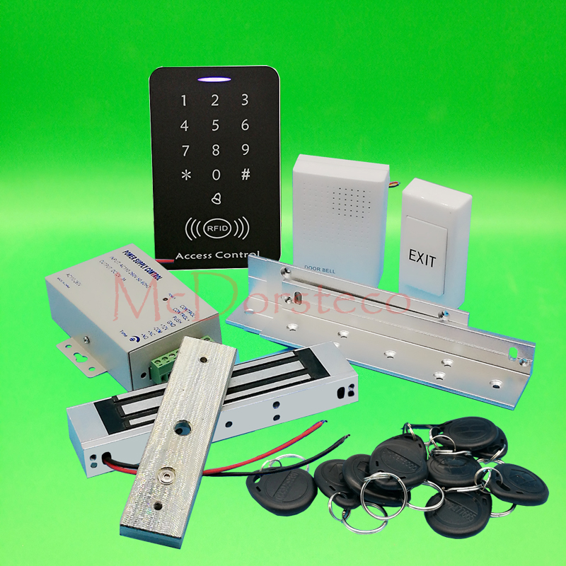 DIY Full 125khz Rfid Access Control System Kit + 350lbs Electric Magnetic Lock +ZL Bracket +Power 125khz Keypad Door Lock System