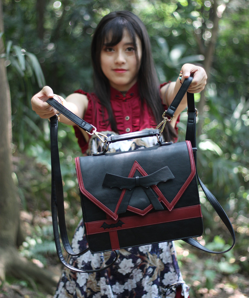 Japanese Women Ladies Girls Preppy Style  Lolita Bowknot Shoulder Bag JK Uniform Messenger Bag 3 Way Daypack School Bag