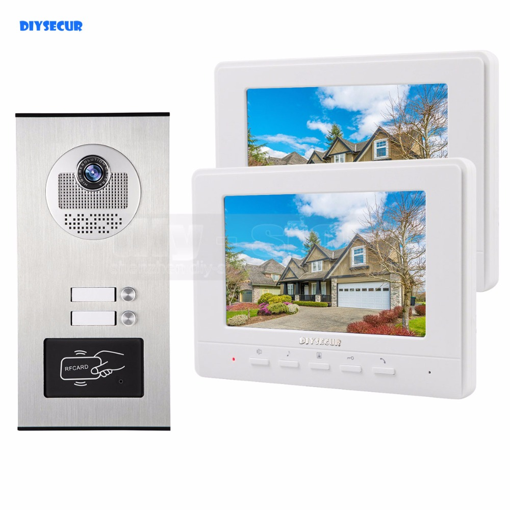 DIYSECUR 7 Apartment Video Intercom Doorbell Video Door Phone System 700 TVLine IR Camera Build-in RFID Reader For 2 Families diysecur 7 4 wired apartment video door phone audio visual intercom entry system ir camera for 6 families