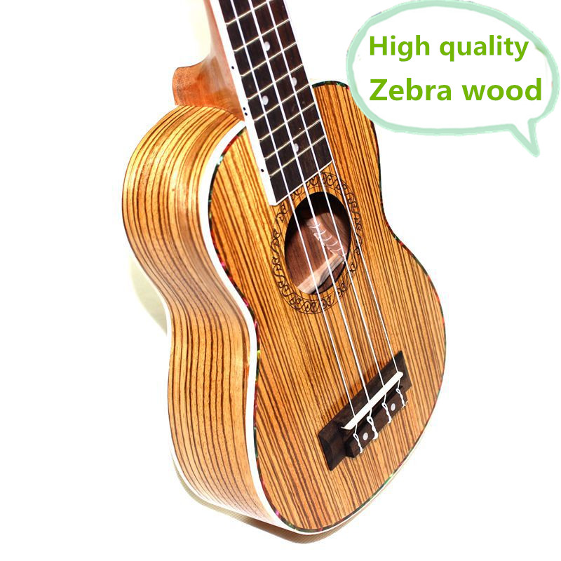 Soprano Ukulele 21 Inch Hawaiian Guitar 4 Strings Ukelele High Quality Guitarra Uke Zebra Handcraft Wood Musical Instruments soprano concert tenor ukulele 21 23 26 inch hawaiian mini guitar 4 strings ukelele guitarra handcraft wood mahogany musical uke