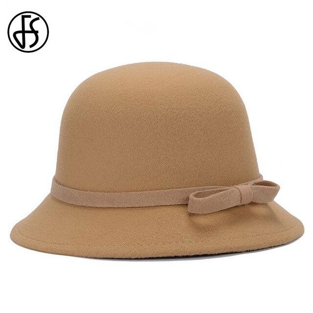 68595c06 FS Women Bow Cloche Hat Winter Classic Vintage Solid Color Bowler Fedoras  Ladies Wide Brim Church Hats Casual Felt Caps