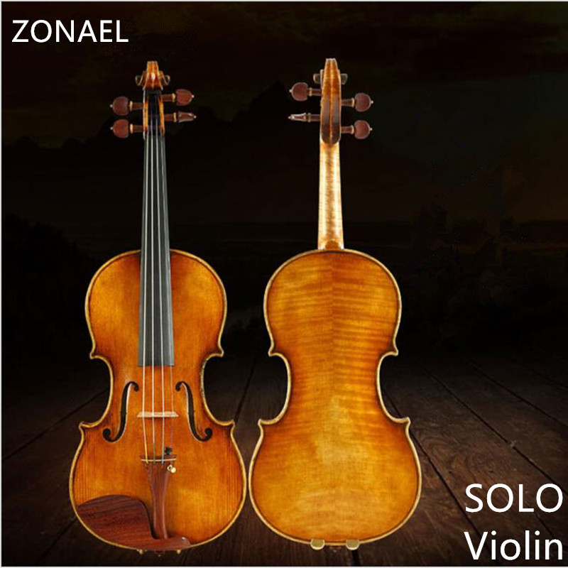 ZONAEL Solo Violin  Full Size 4/4 Violin Spruce  Maple Veneer Fiddle for Performer Jujube  musical instrument Panel spruce wood tongling brand natural flamed maple acoustic violin 4 4 3 4 antique matt violino full size musical instrument with accessories