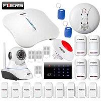 Fuers W1 wifi PSTN домашняя охранная сигнализация Системы Клавиатура RFID комплект IP камера, Wi Fi, Камера + с помощью приложения на телефоне безопаснос