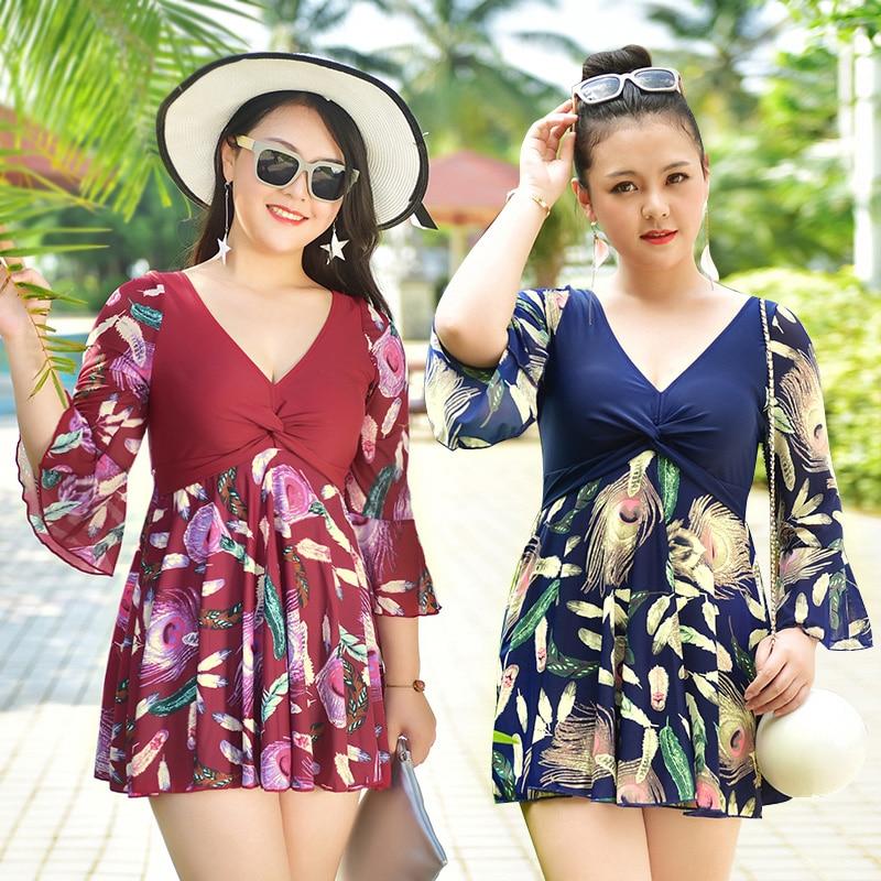 Plus Size Maillot De Bain Half Sleeve Modest Dress Swimming Suit Swimwear  One Piece Swimsuit Bathing Suits for Women XL-5XL 1f6cf051b9d0