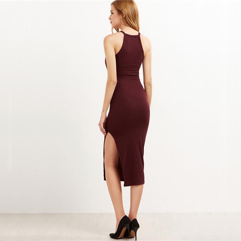 COLROVIE Women Sexy Bodycon Cami Dress Winter Autumn 2017 Women Fall Fashion New Designer Side Slit Ribbed Midi Dress 15