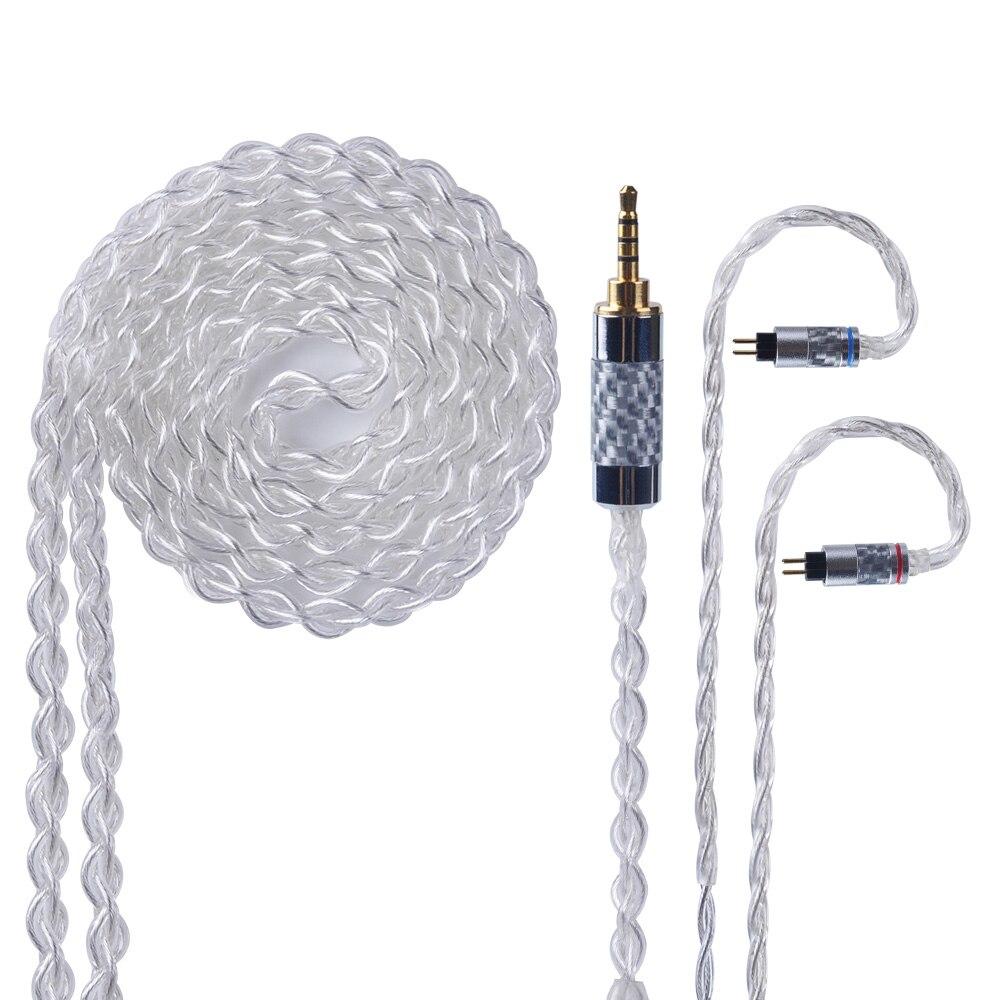 Yinyoo 4 Core Pur Argent Mis À Jour Câble 2.5/3.5mm Câble Équilibré Avec MMCX/2pin Connecteur Pour KZ AS10 ZS10 ED16 HQ5 HQ6 HQ8
