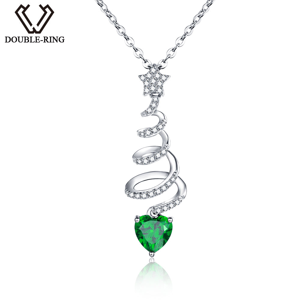 DOUBLE-R Real Solid 925 Sterling Silver necklaces for women sterling-silver-jewelry Classic Created Emerald Pendants