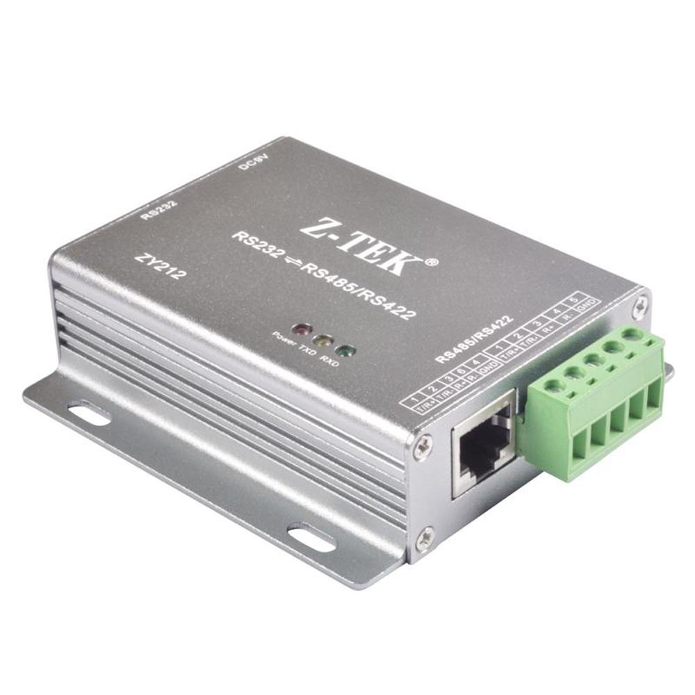 Lightning protection RS232 to RS485/RS422 converter adapter with power adapter ZY212 industrial grade photoelectric isolation rs232 to rs485 422 two way active converter lightning protection against surge
