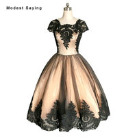 Elegant Black Ball Gown Lace Short Sleeve Cocktail Dress 2017 Knee Length Homecoming Prom Gowns Graduation robe de cocktail VC64