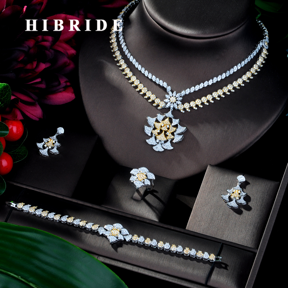 HIBRIDE Charm Dubai Jewelry Sets Nigerian Wedding African Beads Crystal Bridal Jewellery Set Ethiopian Jewelry Parure 4pcs N-136