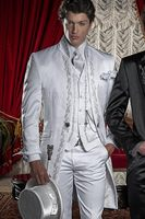 2016 New Style White Embroidery Groom Tuxedos Groomsmen Men S Wedding Prom Suits Custom Made Jacket