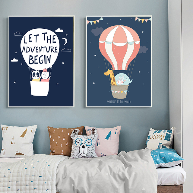 Cartoon Animals Balloon Art Canvas Prints Children Baby Quote Poster