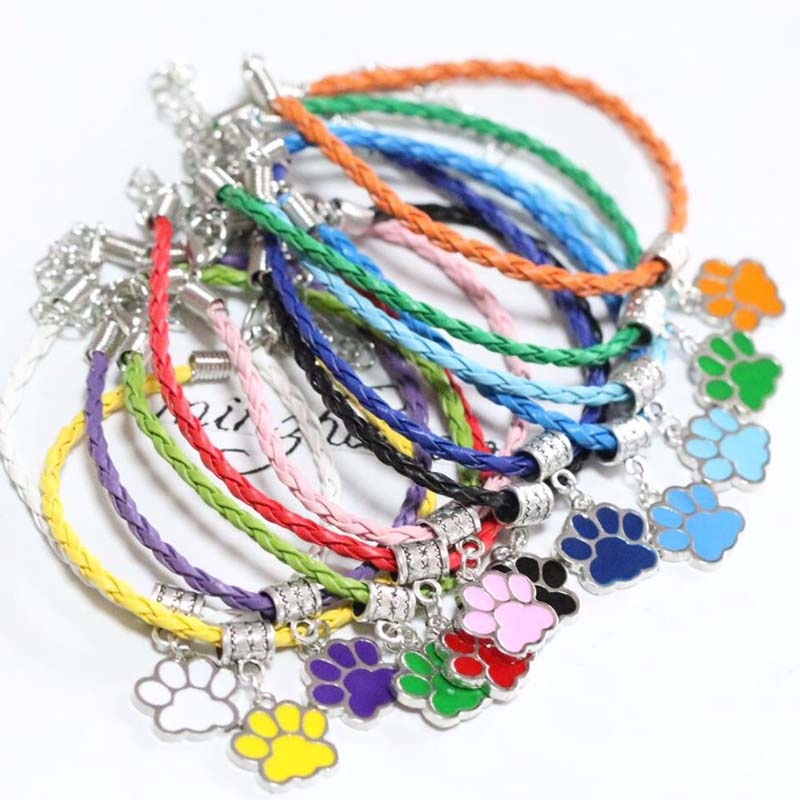 Leather <font><b>Bracelet</b></font> Enamel Pet <font><b>Dog</b></font> Cat Paw Prints Charms <font><b>Bracelets</b></font>&Bangle New Hot Fashion Jewelry For Women Christmas gifts image
