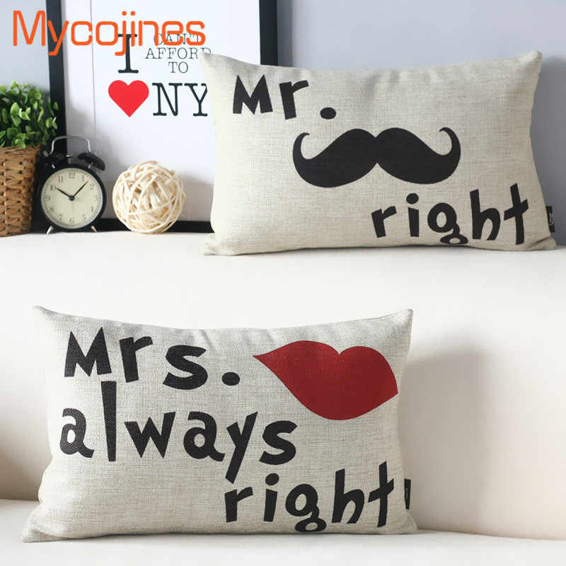 Cuscini Mr Right Mrs Always Right.50 30 Cushion Cover Couple Lover Mr Right Mrs Always Right Home
