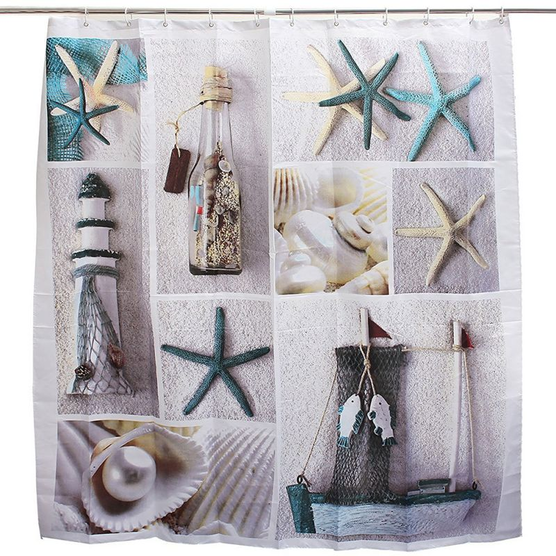 Aliexpress.com : Buy 1 Pcs Waterproof Mordern Sea Shell Starfish Curtain  Home Bathroom Curtains From Reliable Starfish Curtains Suppliers On 7IKON