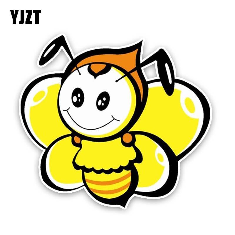 YJZT 15,2 см * 14 см прекрасный пчела ПВХ наклейка мультфильм автомобиль стикер 12-300639