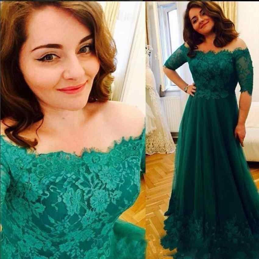 Dark Green Plus Lace 2019 Mother Of The Bride Dresses Off the Shoulder half Sleeves Lace Applique Mother vestido de madrinha in Mother of the Bride Dresses from Weddings Events