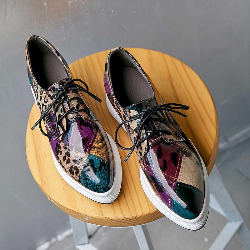 Zapatos de cuña ZVQ para mujer Zapatos de tacón de plataforma con cordones para mujer Zapatos de tacón de cuero genuino para mujer 2019