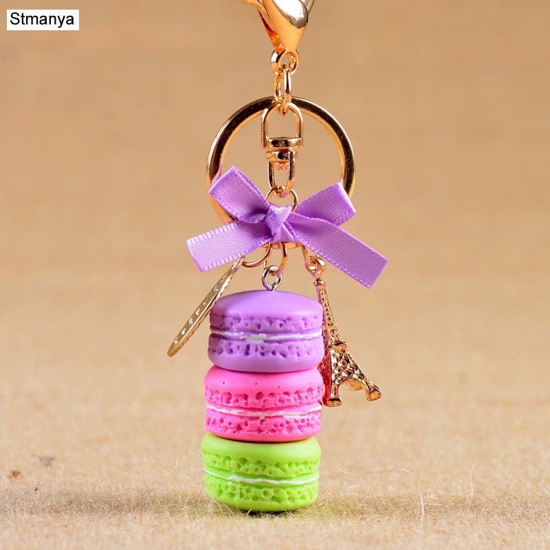 New Cake Key chain fashion car Key Ring Women bag charm accessories France Cake Macarons with Eiffel Tower Keychain gift Jewelry eiffel tower charm bangle
