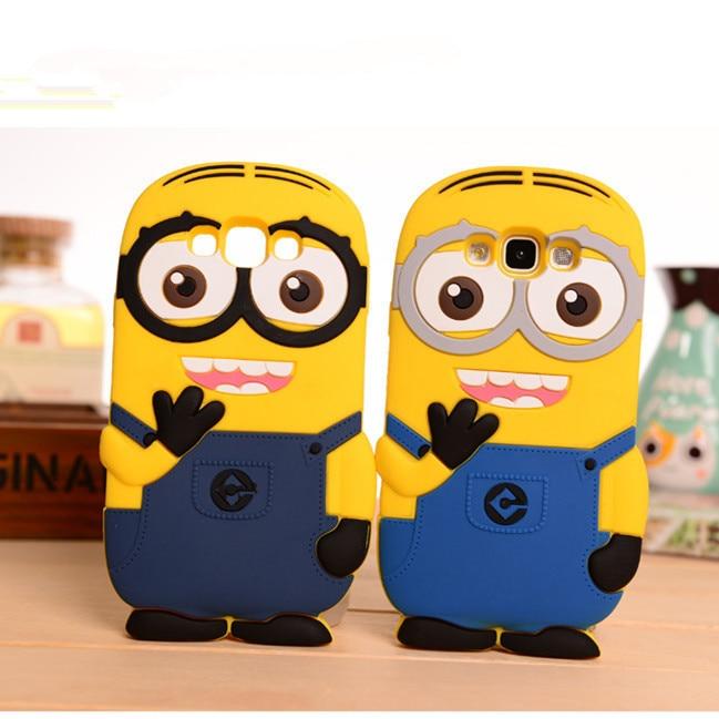 For Samaung Galaxy 2015 J1 J5 J7 A3 A5 A7 E5 E7/2016 J1 J2 J3 J5 J7 A3 A5 A7 3D Cute Cartoon Silicon Despicable Me2 Minion Case