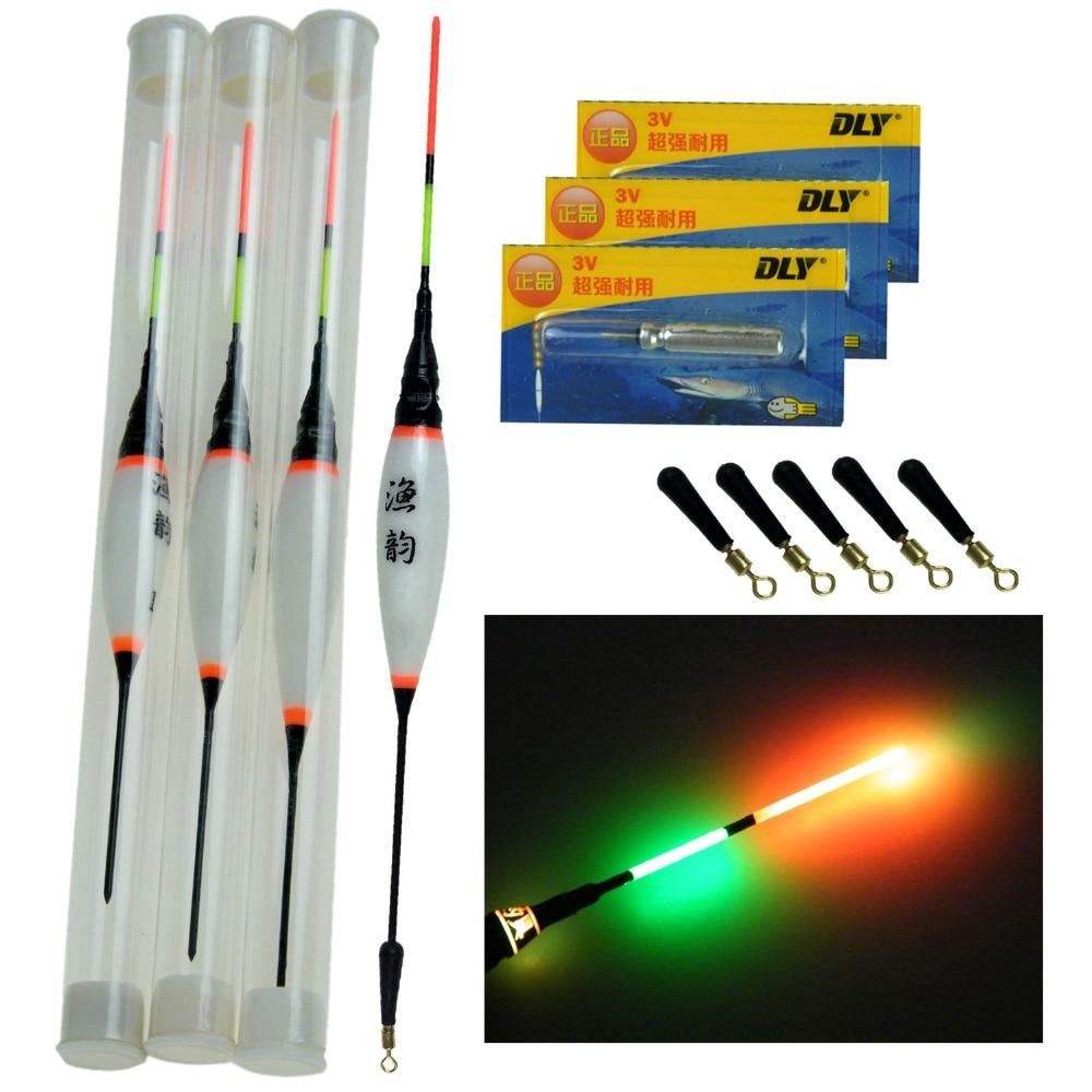 3pcs / Lot 0,8g 1,3 g 1,8 g LED ribiški plovci z baterijo z baterijo sladkovodnega krapa, plavajoči plovec articulos de pesca
