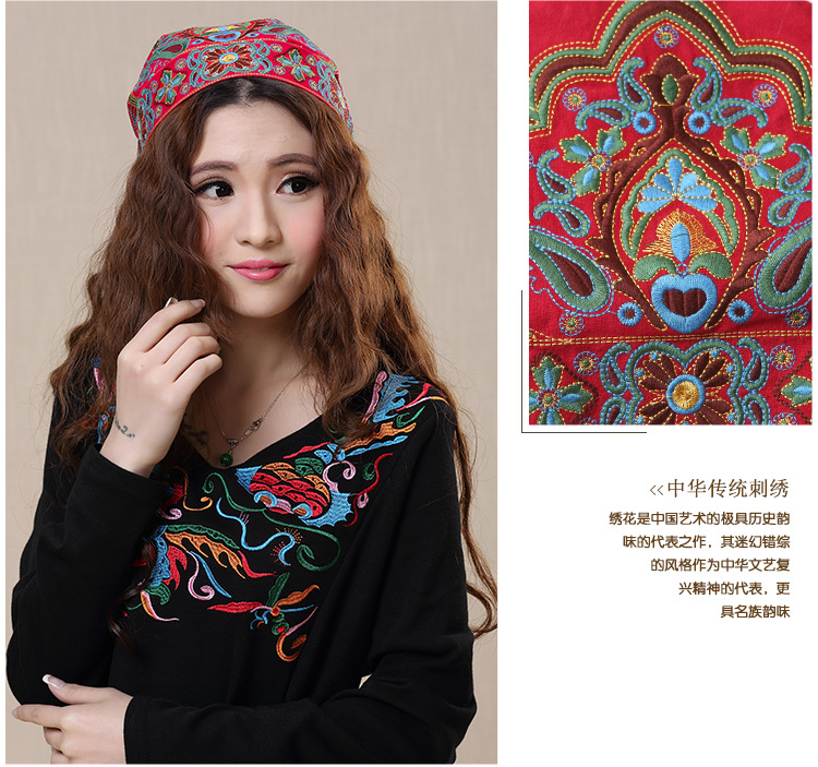 Mexican Style Spring And Autumn Ethnic Vintage Embroidery Flowers Bandanas Original Red Blue Print Hat Cat Free Shipping 16