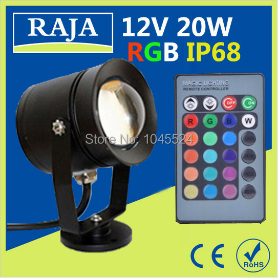 12v 20W RGB LED piscina Underwater Lights Waterproof IP68 Fountain Swimming Pool Lamp Light 16 Colorful Change With IR Remote