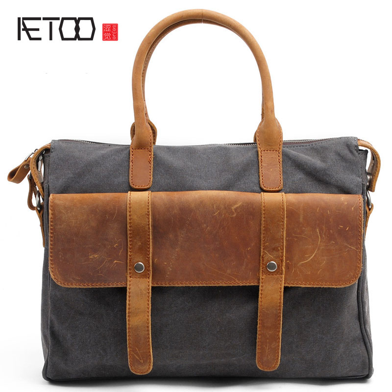 AETOO new winter men leather hand bag new canvas computer bag messenger bag shoulder bag leisure Europe japanese pouch small hand carry green canvas heat preservation lunch box bag for men and women shopping mama bag