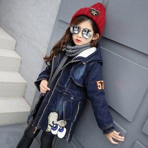 Image 4 - 2020 yeni kış çocuk kız Denim ceket çocuk artı kalın kadife ceket büyük bakire sıcak tutan kaban pamuk kapşonlu dış giyim kız