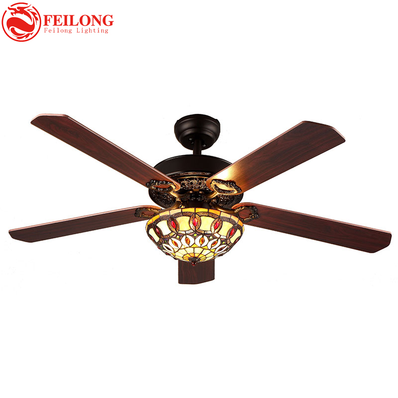 COLORFUL glass shade 52 inch brown wood blades CEILING FANS lights Vintage Tiffany Stained Glass Flowers Downlight Ceiling Fans