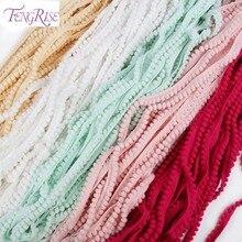 FENGRISE Lace Trim Pompom 10yard 10mm Pom Pom Accessories Tassel Ball Fringe Ribbon DIY Materials Apparel Sewing Fabric Cord