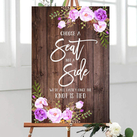 Rustic Wedding Welcome Sign Wedding Ceremony Sign With Floral,Choose a Seat not a Side We're All Family Once The Knot Is Tied