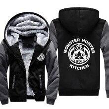 Japan Anime Monster Hunter X Kitchen Thick Fleece Mens Outwear Big Yards Cotton Hoodie Coat Jacket Parkas Warm