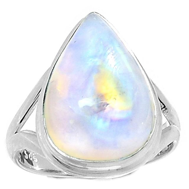 Lovegem Genuino Rainbow Moonstone Anillo de Plata Esterlina 925, Tamaño: 8.75, AR2046