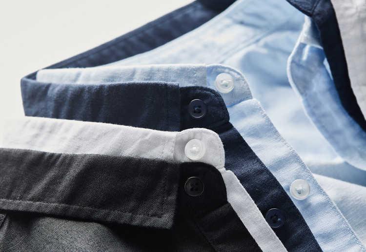2018 été nouveau à manches courtes lin et coton chemise hommes marque de mode chemises décontractées pour homme S-4XL solide chemise noire homme chemise