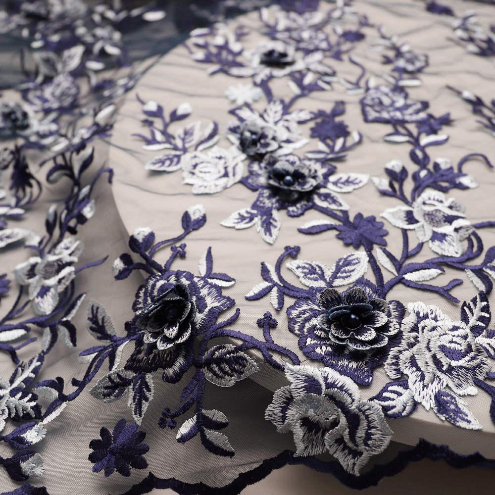 البحرية الأزرق الفاخرة الفرنسية الأربطة 3d شبكة زهور تول الدانتيل مع الخرز نسيج حفلات الزفاف 240 5 ساحات لحفل الزفاف-في دانتيل من المنزل والحديقة على  مجموعة 3